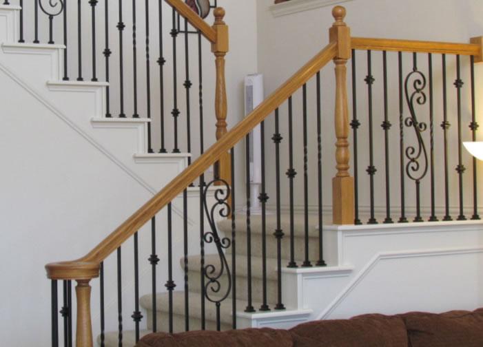 别墅铁艺楼梯扶手价格与设计图片